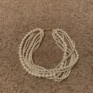 Faux pearl wrap around necklace